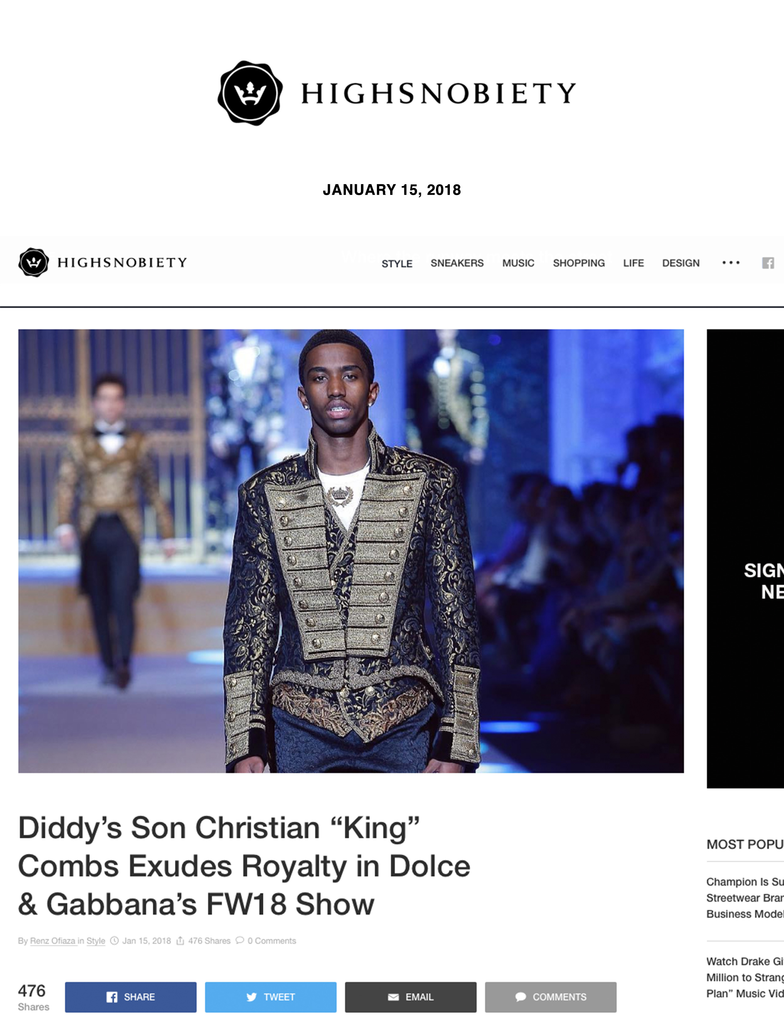 "Diddy's Son Christian ""King"" Combs Exudes Royalty in Dolce & Gabbana's FW18 Show"